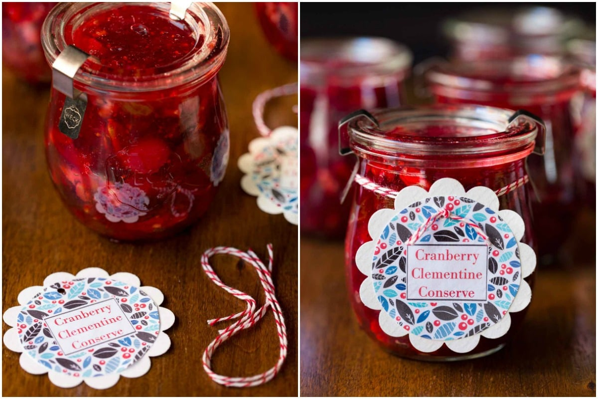 2 photos of the labeling process for a jar of Cranberry Clementine Conserves.