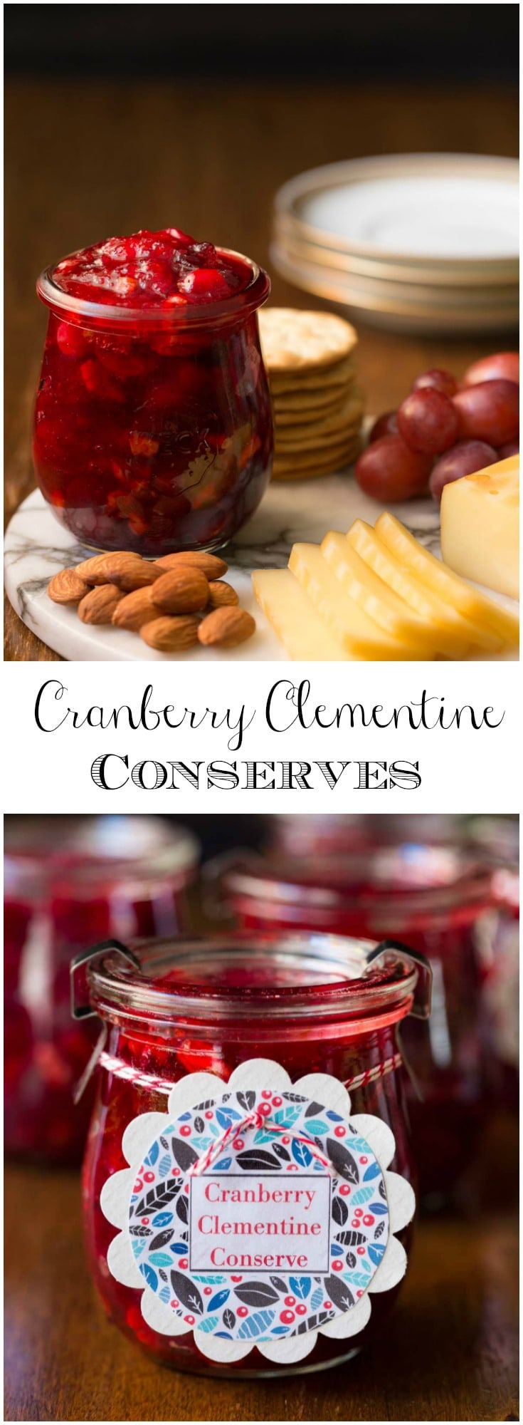 Keep a stash of these Cranberry Clementine Conserves handy for an easy and delicious appetizer. It's also fabulous for gift giving! #easyappetizer, #holidayappetizer