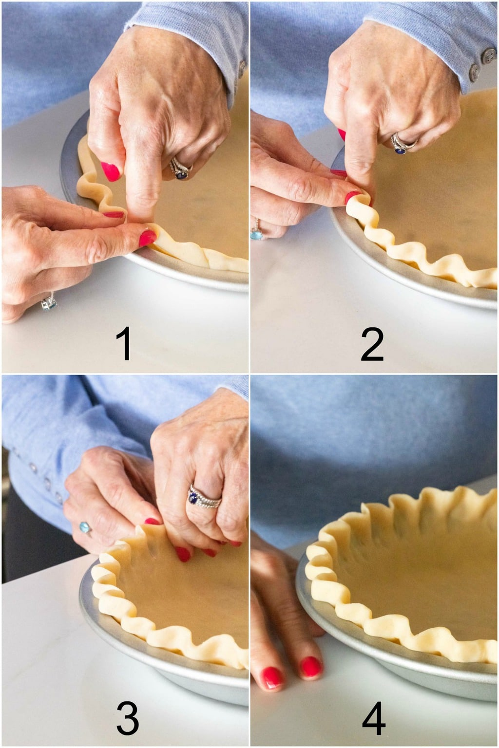 Closeup four-step vertical collage of how to crimp the edge of a Homemade Store-Bought Pie Crust with your fingers.