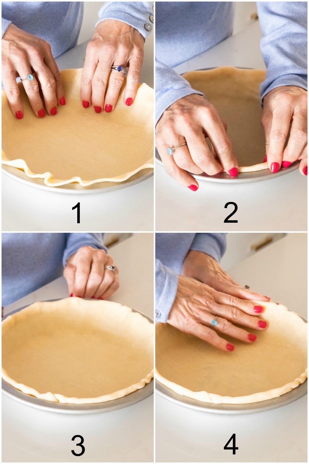 Vertical four-step collage of how to prepare a Homemade Store-Bought Pie Crust for pie-making.