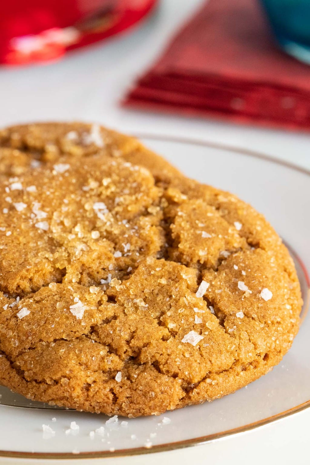 Vertical extreme closeup photo of Crinkly Crackly Butterscotch Cookies on a white serving plate with a gold edge.