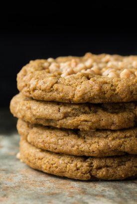 Crispy, Chewy Toffee Pumpkin Cookies