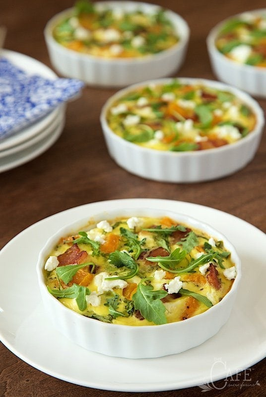 Crustless Mini-Quiches with Butternut Squash, Bacon and Goat Cheese - these individual size quiches are easy, healthy and full of delicious flavor!