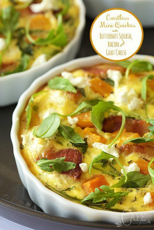 Crustless Mini-Quiches with Butternut Squash, Bacon and Goat Cheese - these little individual size quiches are easy, healthy and super delicious!
