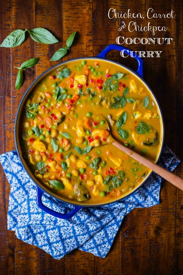 The perfect way to get your veggie quota in a super delicious way! This wonderful Chicken, Carrot and Chickpea Coconut Curry is loaded with healthy veggies, lean protein and fabulous flavor! #chickencurry #chickpeacurry #dinnerideas #healthyweeknightmeals