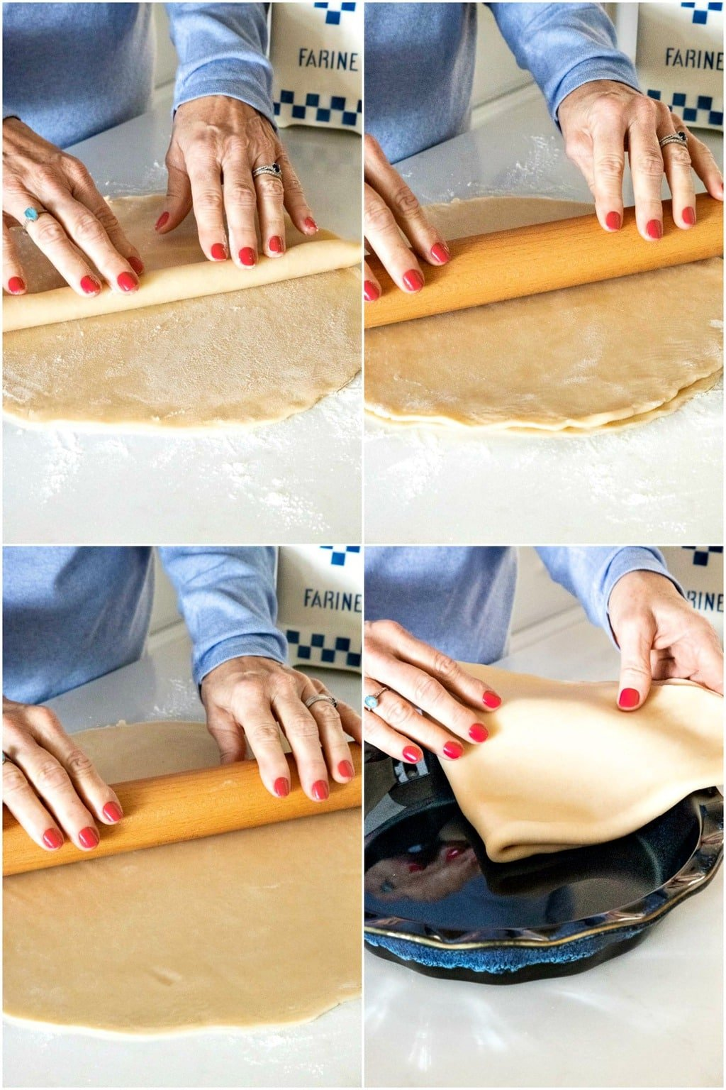 Vertical four-step collage demonstration of how to roll a double pie crust for making a Homemade Store-Bought Pie Crust.