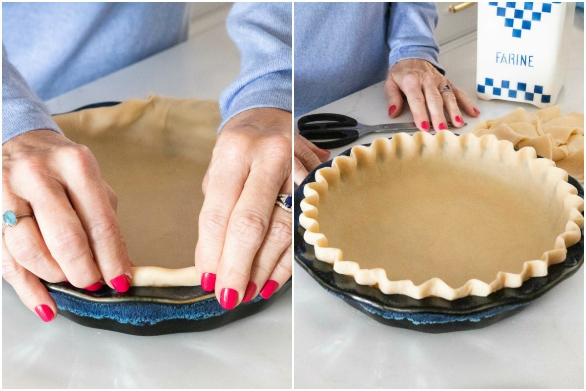 Two-shot vertical photo collage of how to roll the edge of a Homemade Store-Bought Pie Crust.