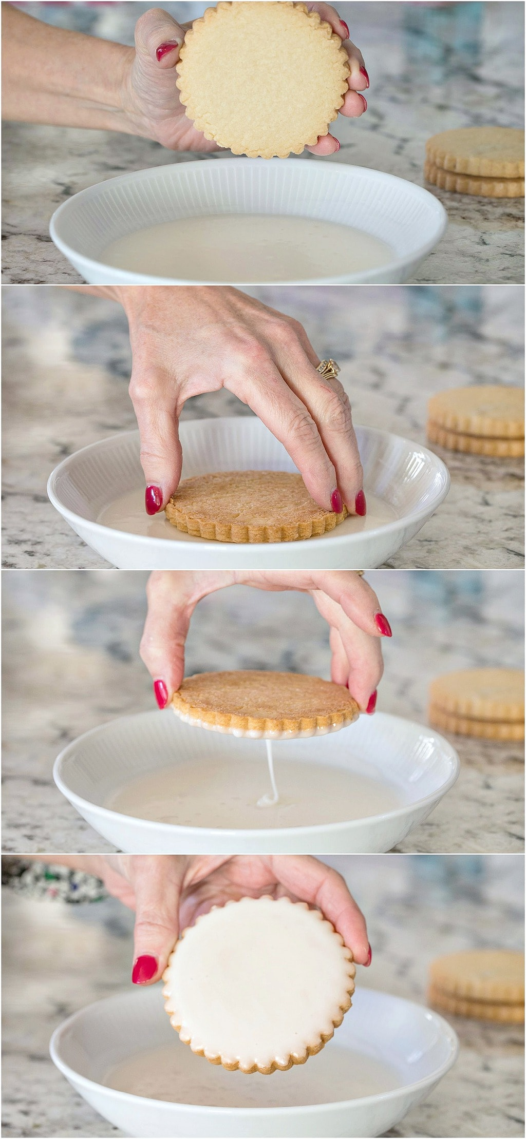 How-to collage of icing Easy Decorated Shortbread Cookies.