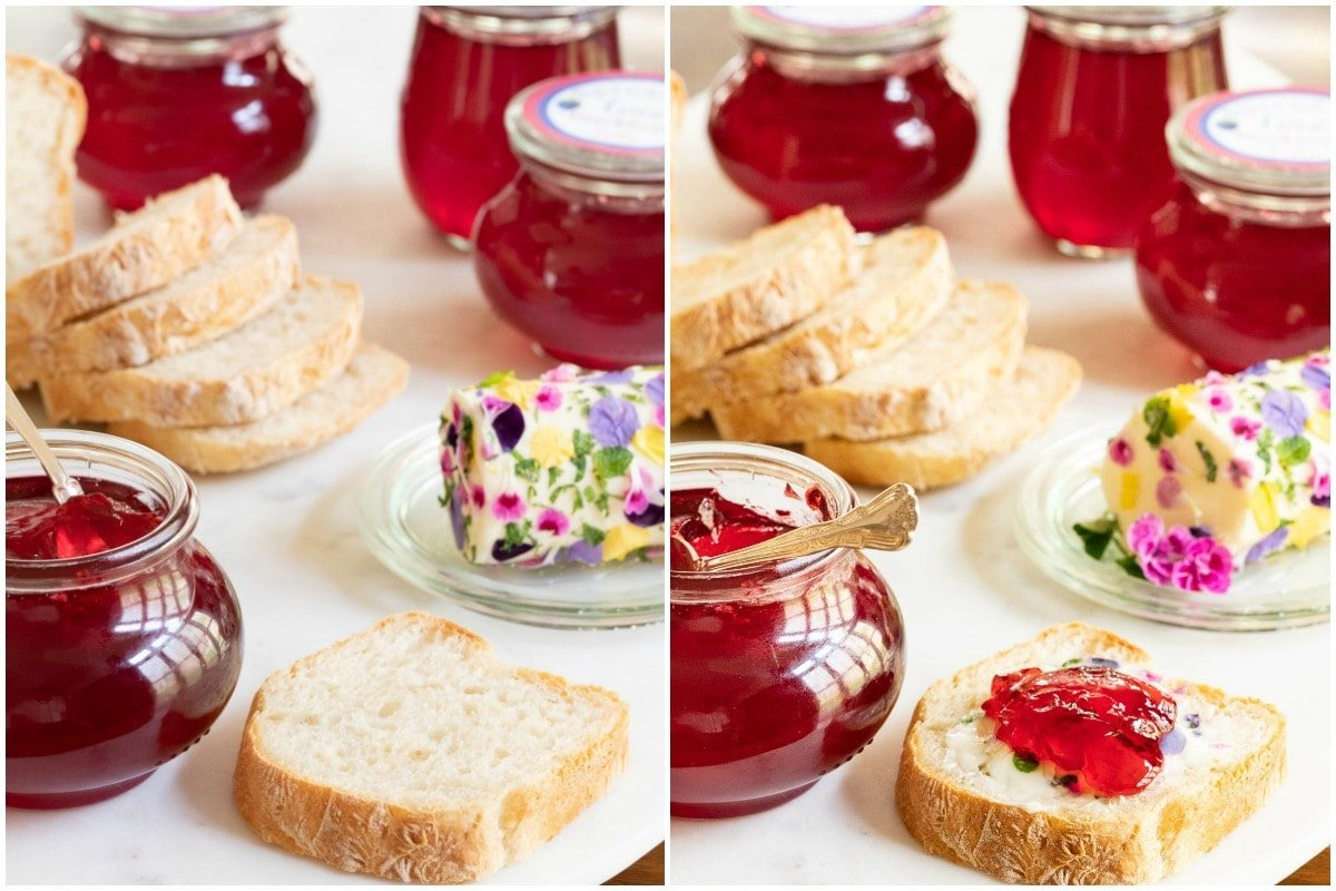 Horizontal collage of two photos of Easy Blackberry Jelly in glass jars and on a piece of homemade bread.