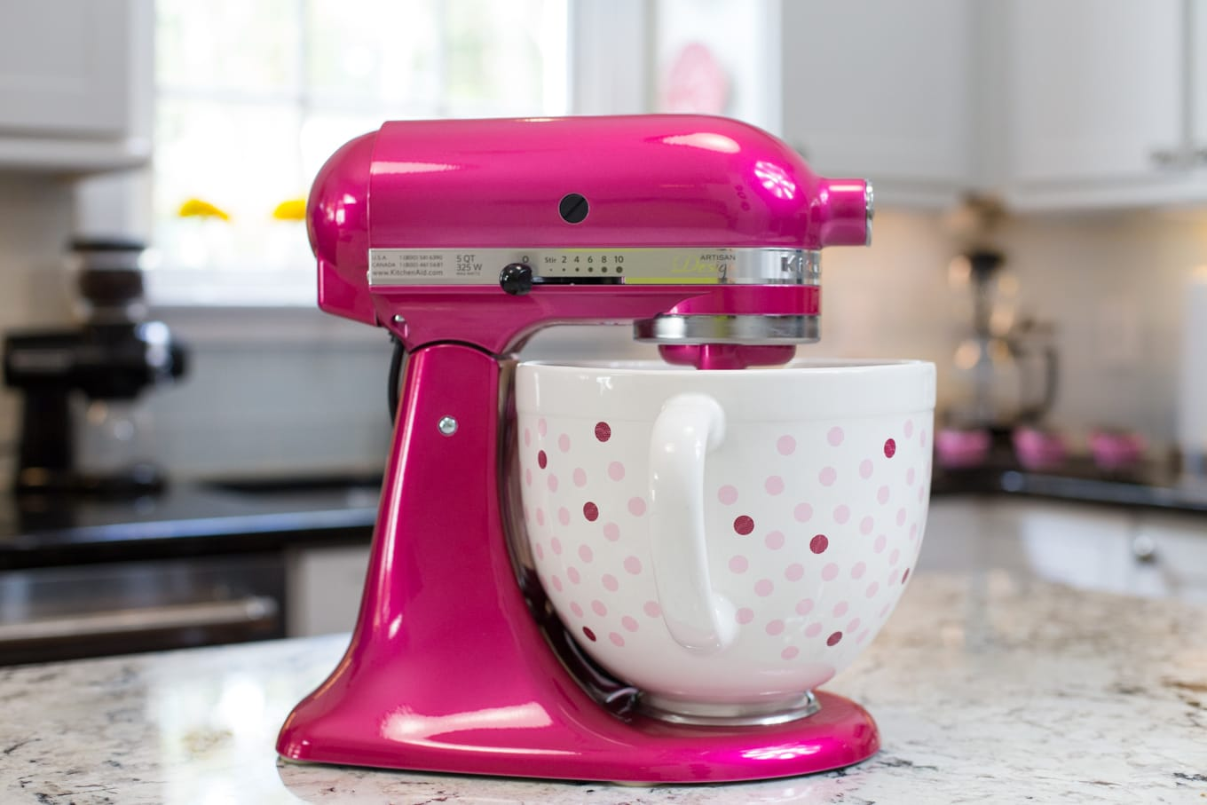 KitchenAid Raspberry Ice Artisan Mixer with Polka Dot Bowl - created to help promote awareness and help fund the fight against breast cancer.