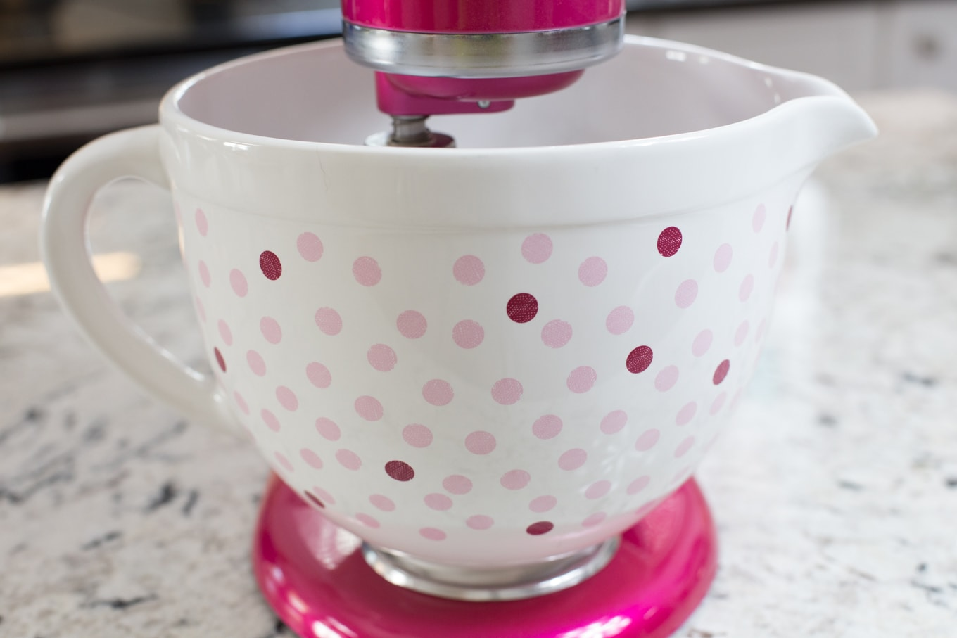 KitchenAid Raspberry Ice Artisan Mixer with Polka Dot Bowl - created to help promote awareness and help fund the fight against breast cancer through KitchenAid and the Susan Komen Foundation.