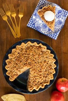 Overhead vertical photo of an Annie's Easy Apple Pie on a wood table
