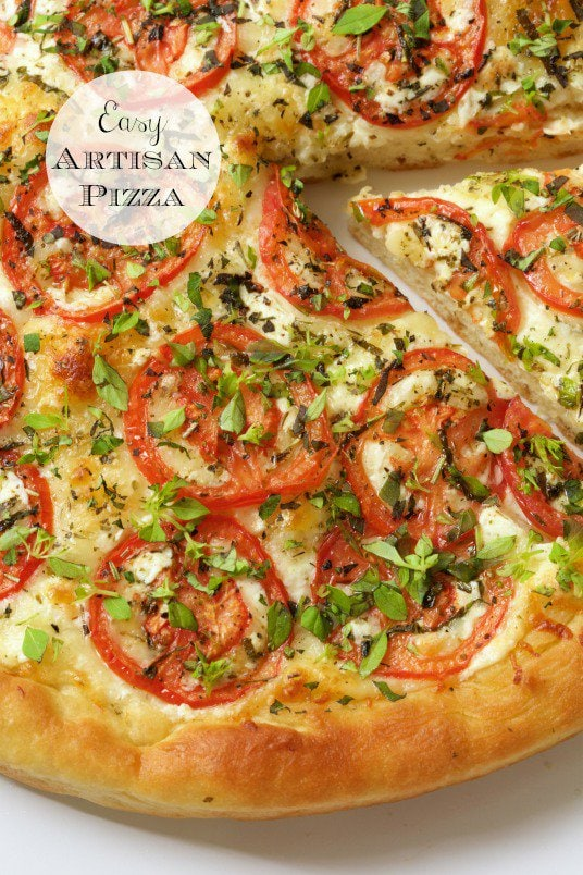 Easy Artisan Pizza - an amazingly delicious crust that's tender on the inside and crisp on the outside. With this crust, you can make a delicious, homemade pizza, start to finish, in less than an hour! thecafesucrefarine.com