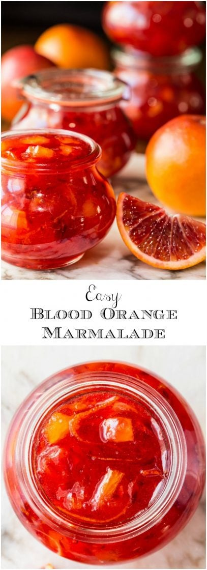 Easy Blood Orange Marmalade - with only 15 minutes of hands-on time, this delicious, not-too-bitter, marmalade brings a little sunshine to the breakfast table! thecafesucrefarine.com