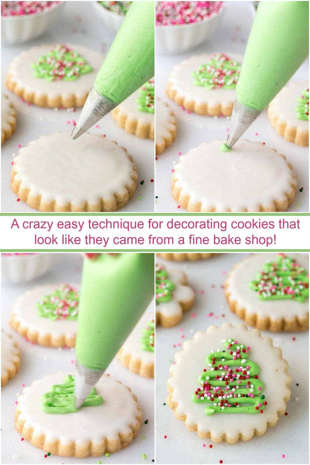 With a super simple decorating technique, these fun, festive and super delicious Christmas Shortbread Cookies look like they came from a fine baking shop! #easychristmascookies, #christmasshortbreadcookies, #prettychristmascookies