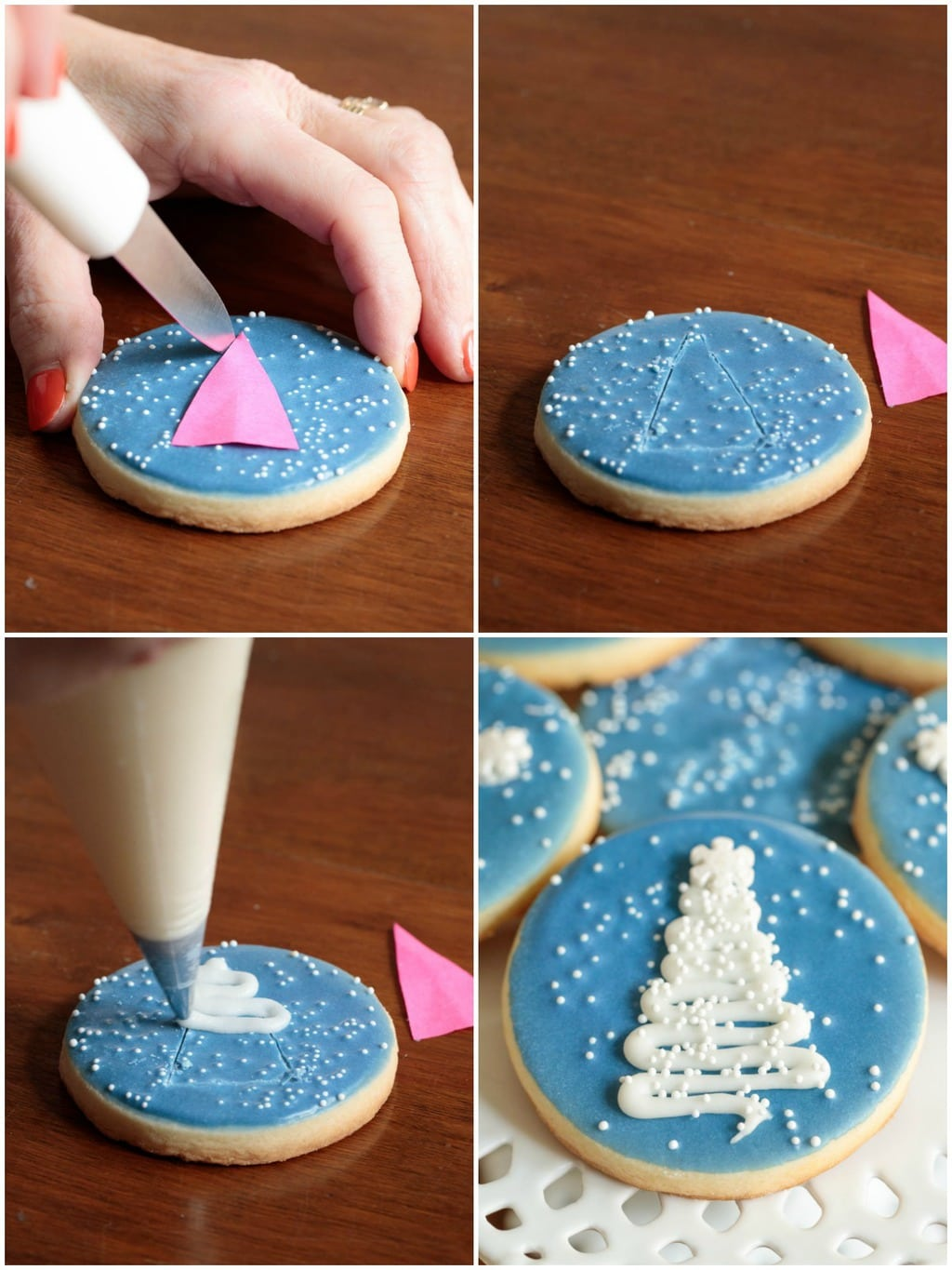 Photo collage of how to pipe consistent tree shapes for Easy Decorated Christmas Cookies.