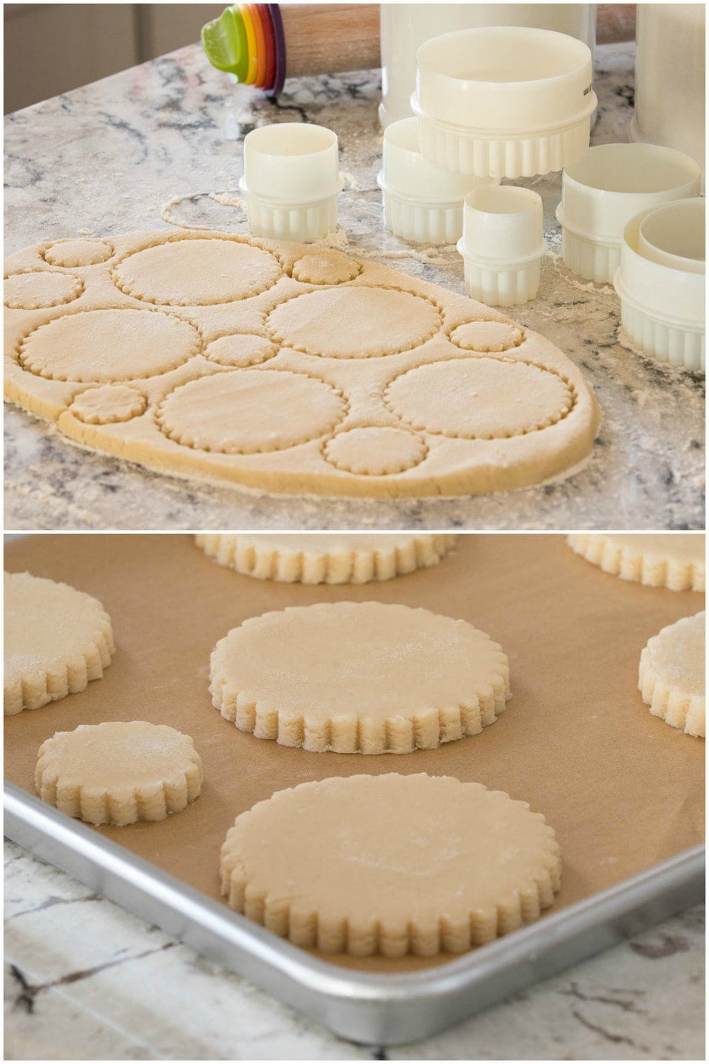 Photo collage of how to cut out Easy Decorated Shortbread Cookies from rolled dough.