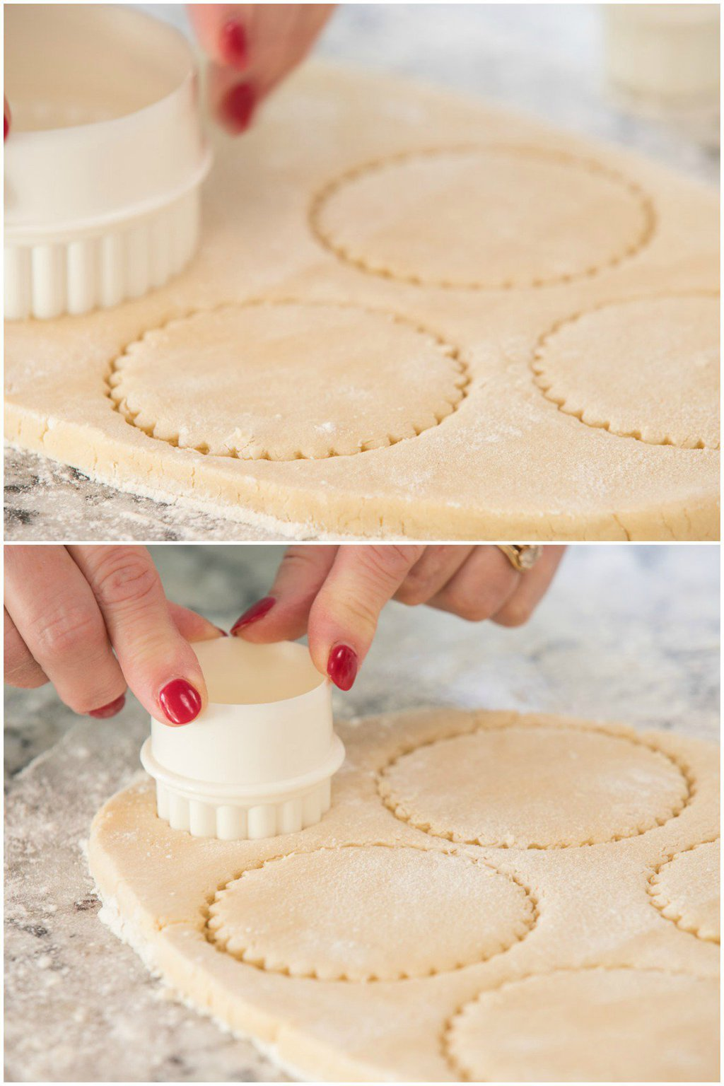 Photo collage of how to cut the cookie dough for making Easy Decorated Shortbread Cookies.