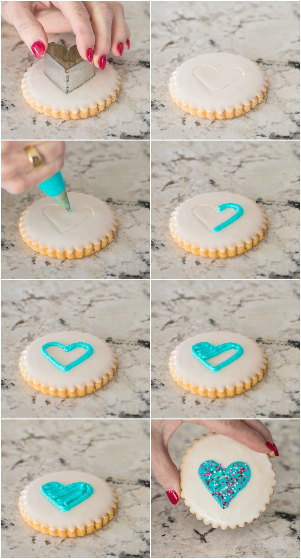 Photo collage of how to decorate Easy Decorated Shortbread Cookies for Valentine's Day.