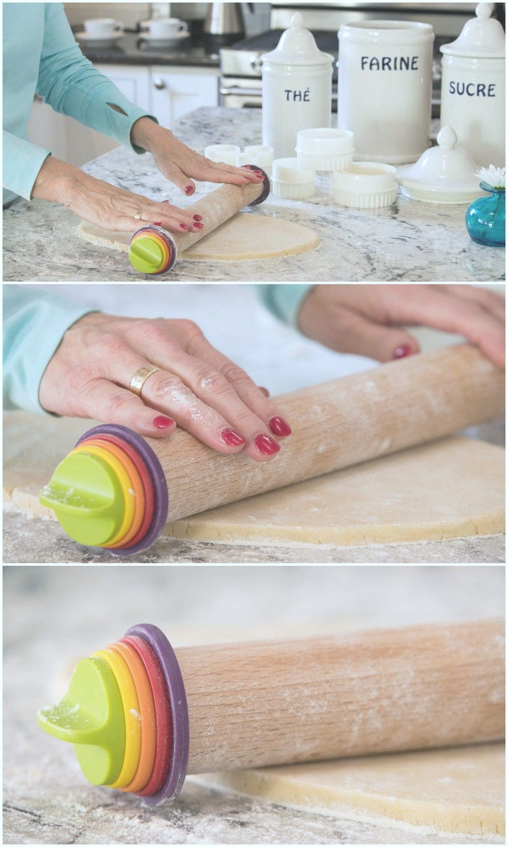 Demonstration collage of how to roll out Easy Decorated Valentine Cookies using an Oxo rolling pin.