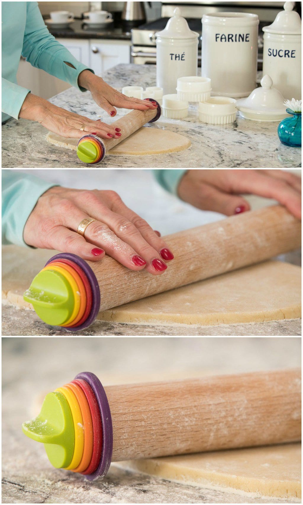 How-to photo collage demonstrating how to roll Thanksgiving Shortbread Cookies using an Oxo adjustable rolling pin.