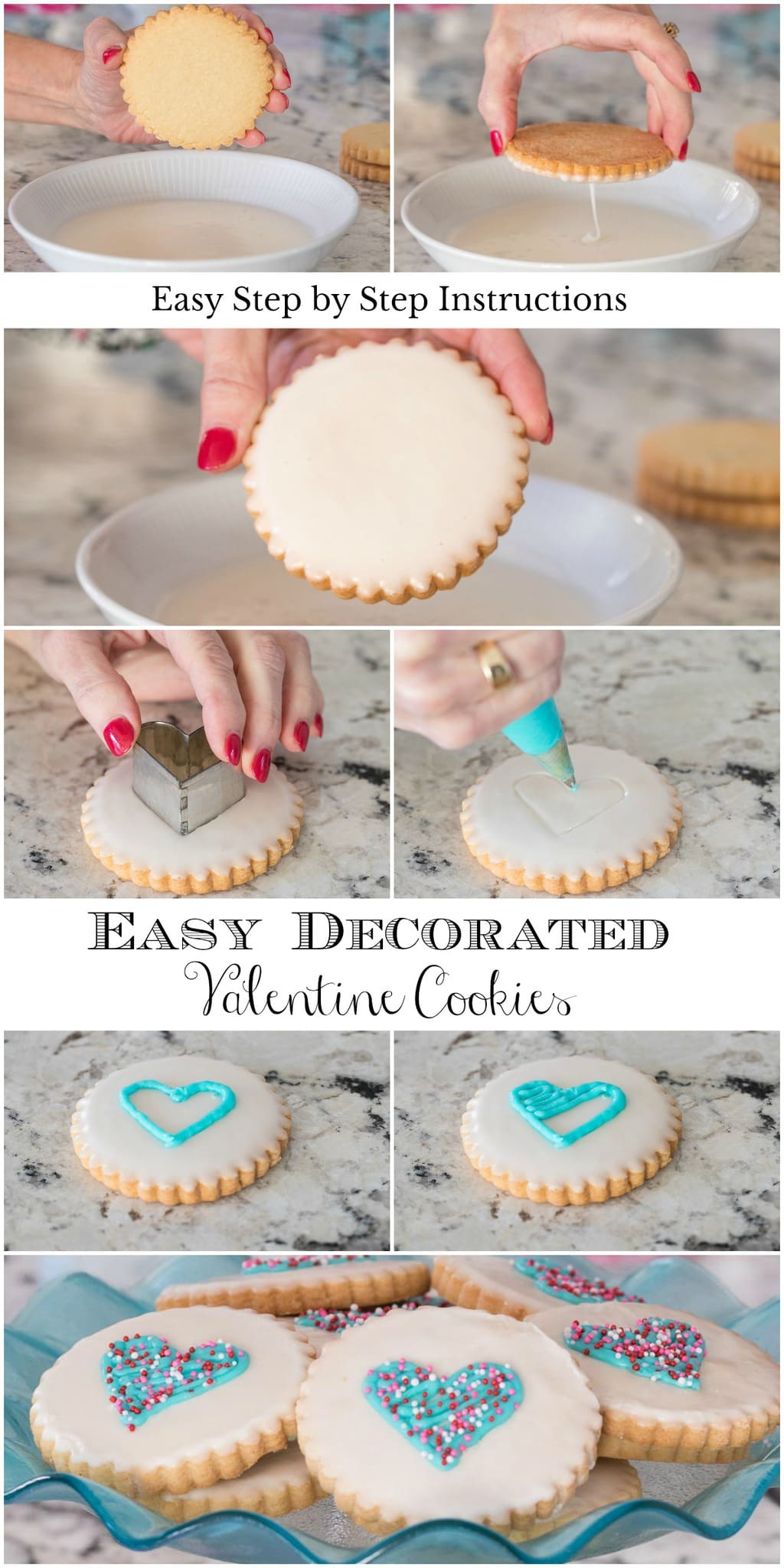 These cookies are not only delicious and look like they come from a fine bake-shop, but the dough recipe is one-bowl and no-mixer! #easyvalentinecookies, #easydecoratedcookies, #heartcookies, #easyshortbread, #howtodecoratecookies