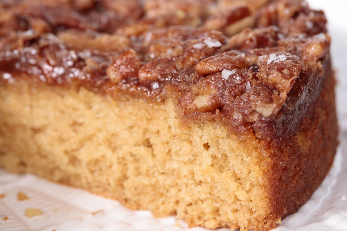 Extreme closeup of the side of a Easy Farmhouse Buttermilk Cake.