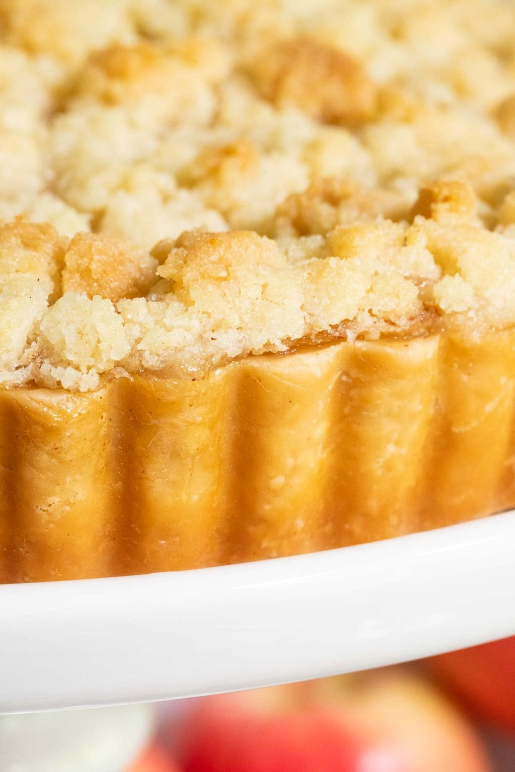Vertical extreme closeup photo of an Easy French Apple Tart.