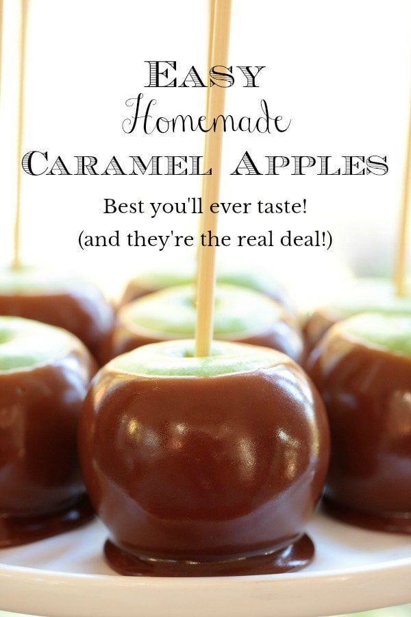 These Easy Homemade Caramel Apples taste a hundred times better than anything you can buy. Make a dozen apples in less than an hour! #easycaramelapples, #homemadecaramelapples