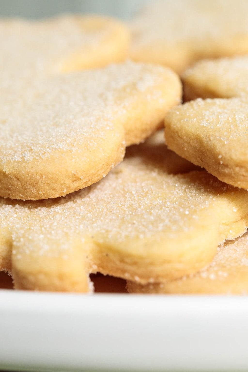 Ultra closeup photo of a pile of Easy Irish Shortbread Cookies.