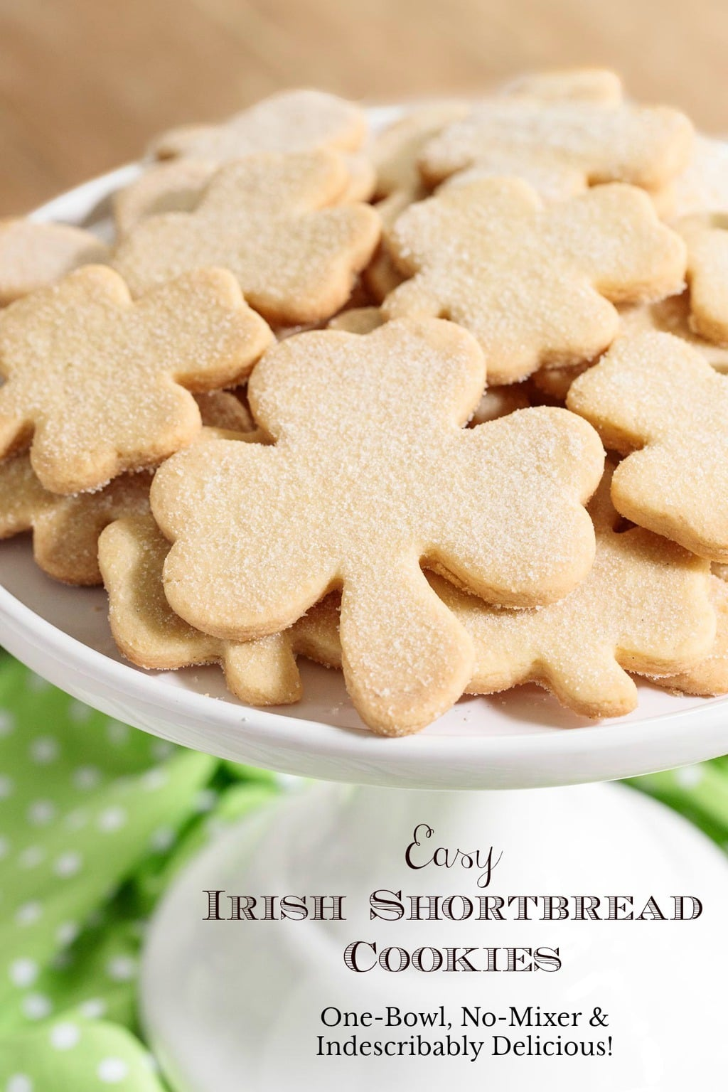 These crisp, buttery melt-in-your-mouth delicious Irish Shortbread Cookies require just one bowl and no mixer! They come together quickly and disappear even quicker so make plenty! #irishshortbread, #easyshortbread, #onebowlnomixershortbread, #bestshortbread