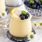 Vertical picture of Easy Lemon Curd Mouse in a small glass jar