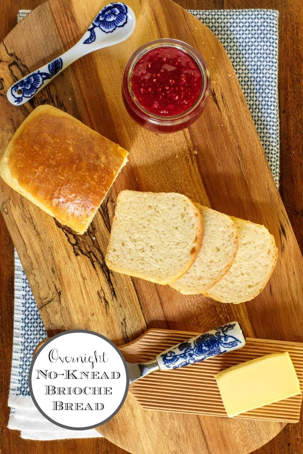 Stir together this one-bowl, Overnight No-Knead Brioche Bread before bed. When you rise, it will be ready to shape and bake. It\'s the most tender, buttery bread that\'s wonderful for toast, sandwiches or for your next dinner party! #nokneadbrioche #nokneadbread, #easybriochebread, #easyyeastbread