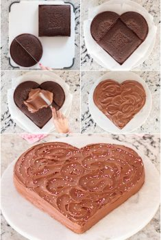 Collage of steps of how to decorate a chocolate heart cake