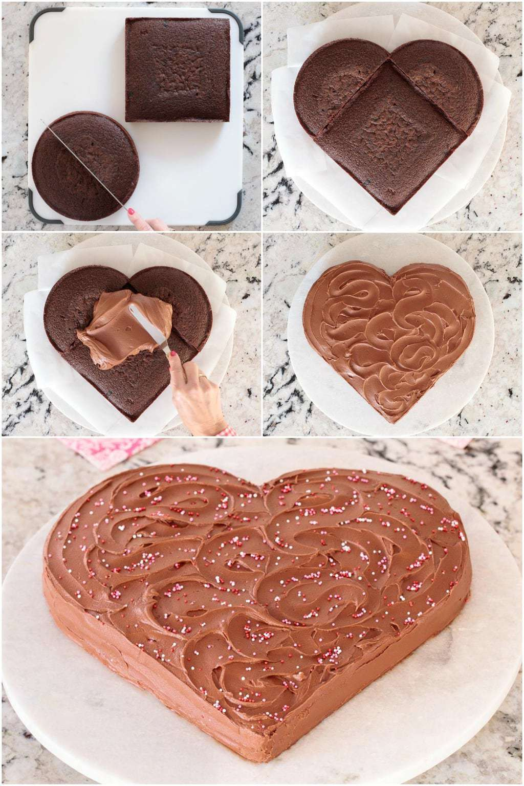 Picture of the easy process of making the heart shape with one square cake and one round cake, halved for this Easy, One-Bowl Chocolate Heart Cake.