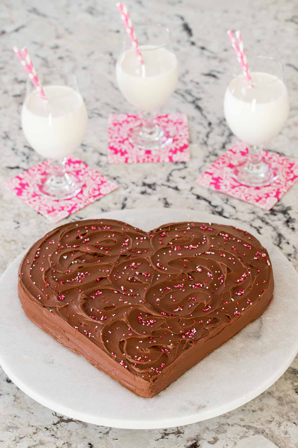Photo Of An Easy One Bowl Chocolate Sweetheart Cake On A Marble Platter With