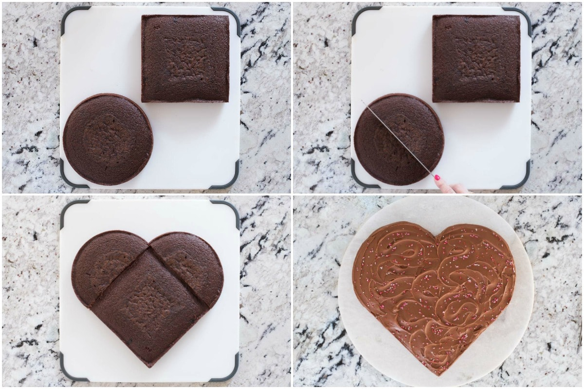 Easy, One-Bowl Chocolate Sweetheart Cake collage
