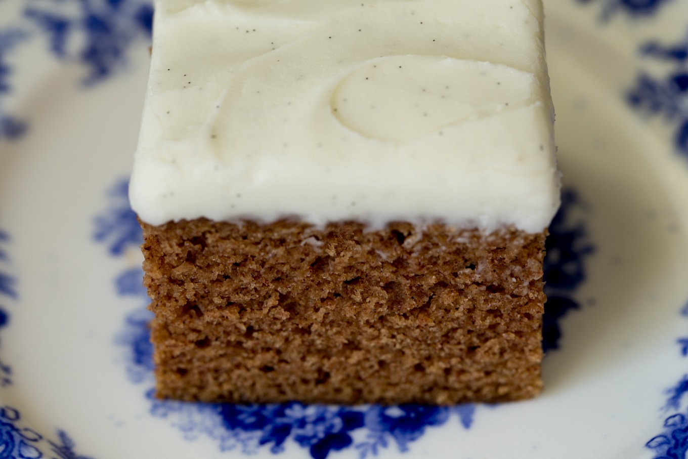Side photo of a piece of Easy Gingerbread Cake with Vanilla Bean Icing on a delft blue patterned plate.