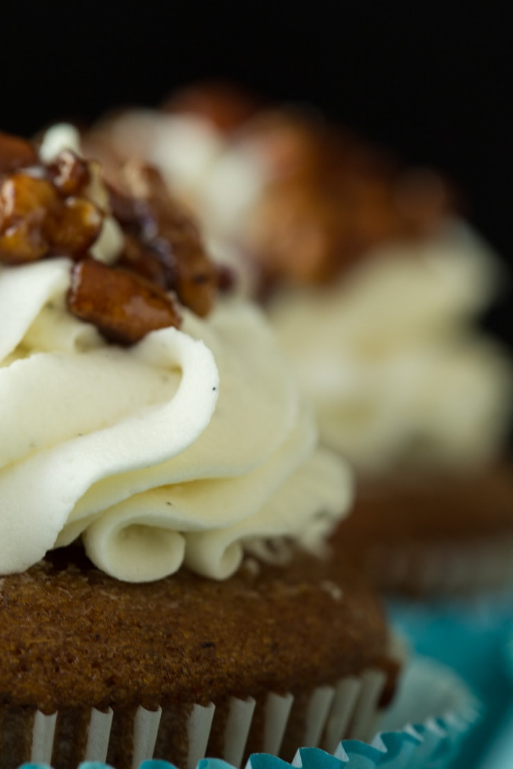 Ultra closeup of the buttercream frosting and candied pecans on top of Easy Pumpkin Cupcakes.
