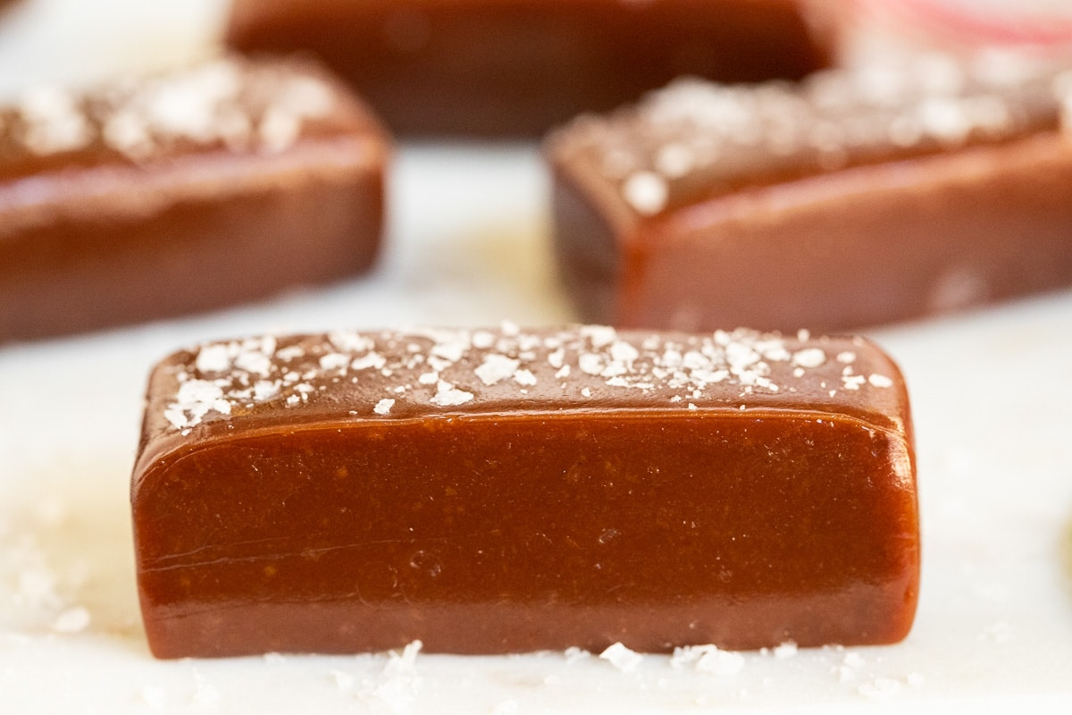 Extreme closeup horizontal photo of a piece of Easy Salted Chocolate Caramel.