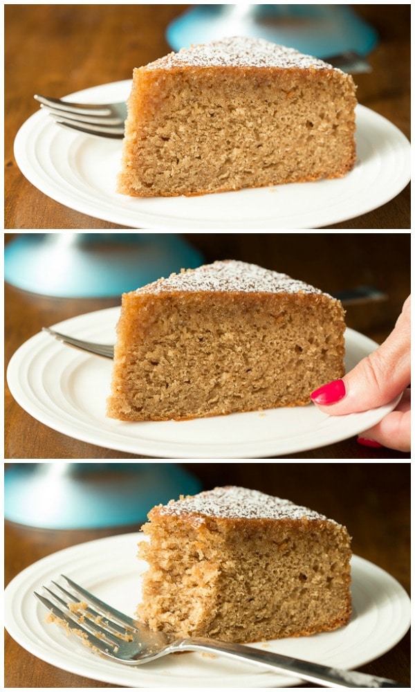 A 3-part collage of a slice of Easy Spice Cake on a white serving plate with a fork.