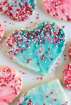 Overhead picture of easy decorated Valentine's cookies