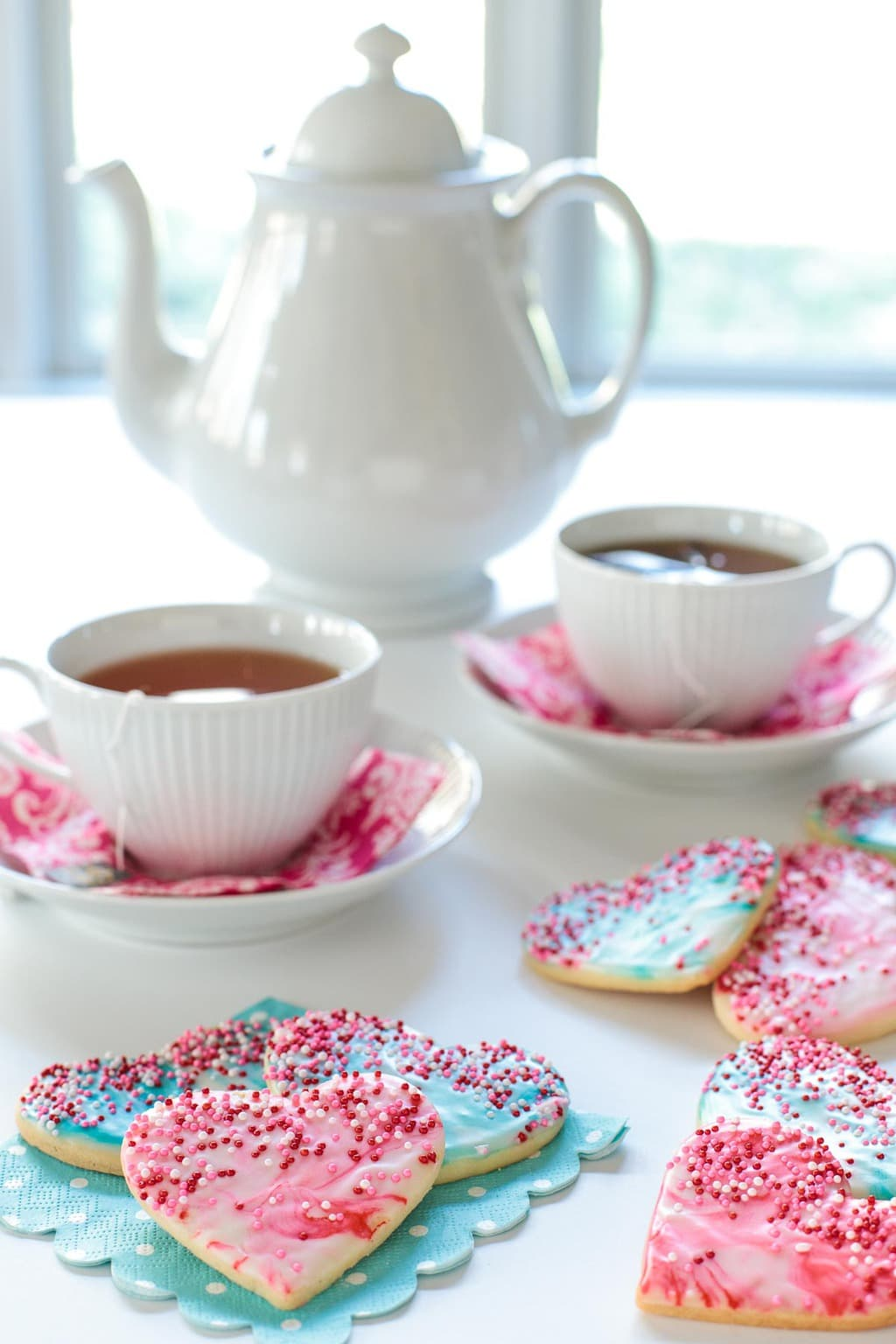 Table scape photo of Easy Valentine Cookies with a tea set