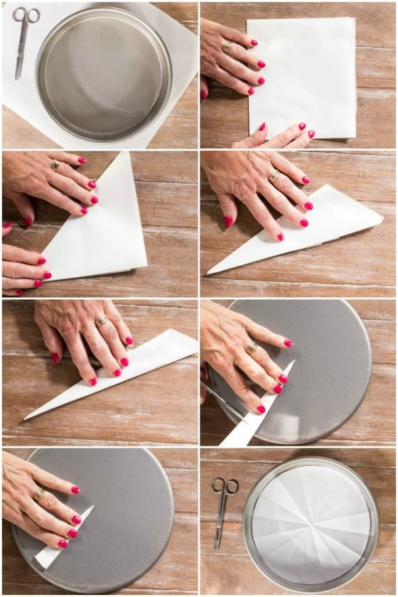 Overhead photo step-by-step collage demonstrating the Easy Way to Line a Cake Pan with Parchment Paper.