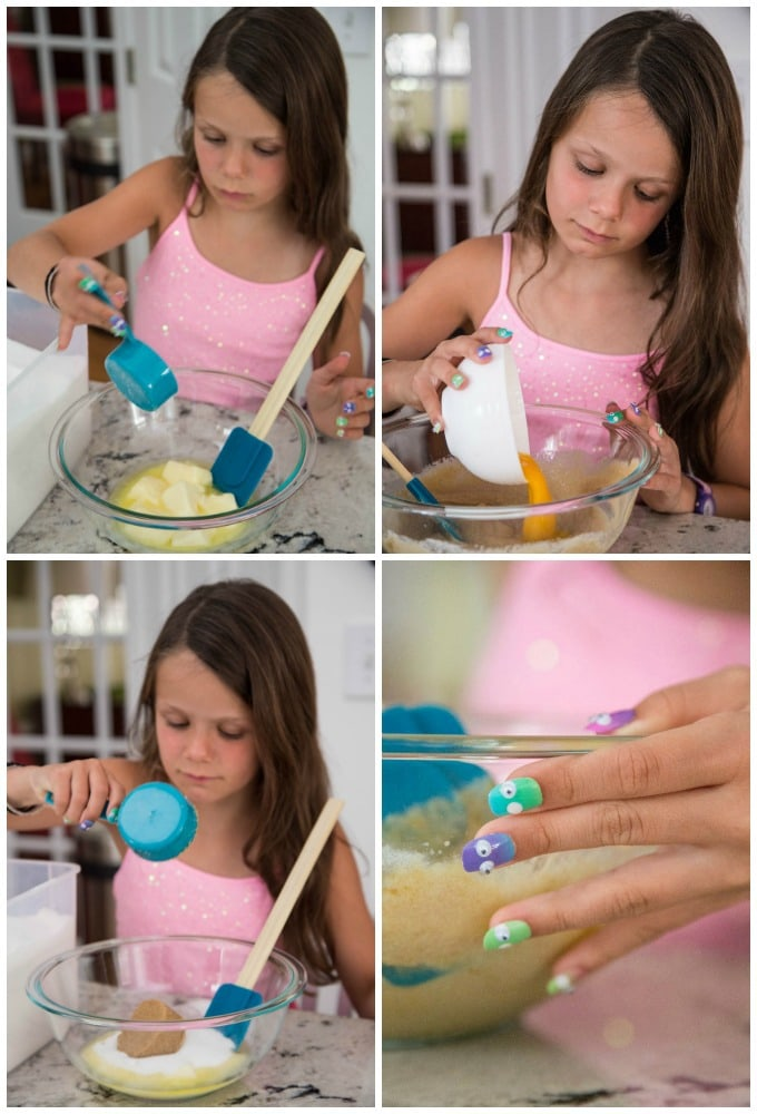 a collage of shots of a young girl combining and mixing the ingredients for a batch of One Bowl Toffee Bar Chocolate Chip Cookies, including a closeup of her brightly decorated fingernails