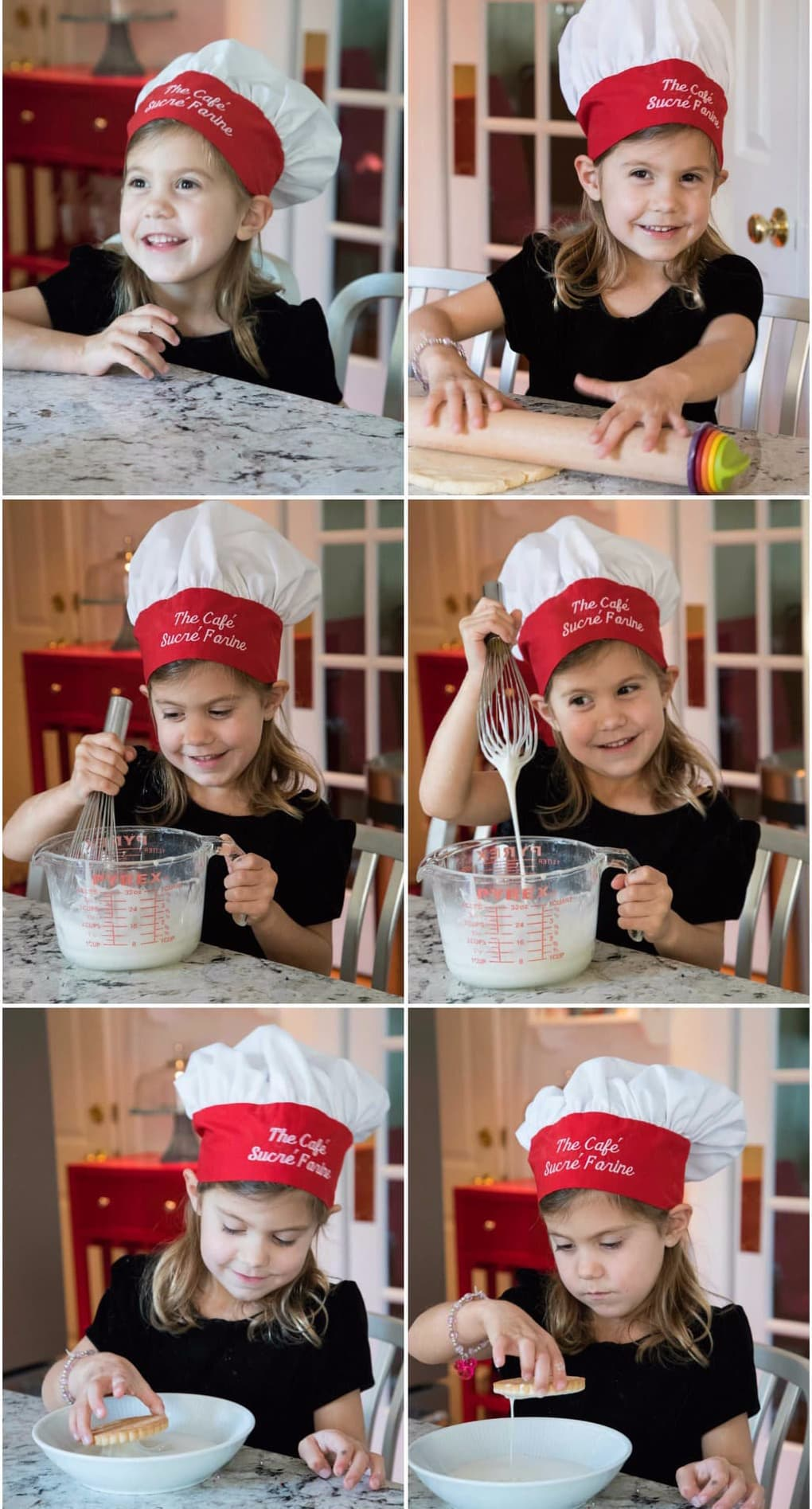 "A four year old ""chef"" (complete with chef's hat) preparing Easy Decorated Valentine Cookies."