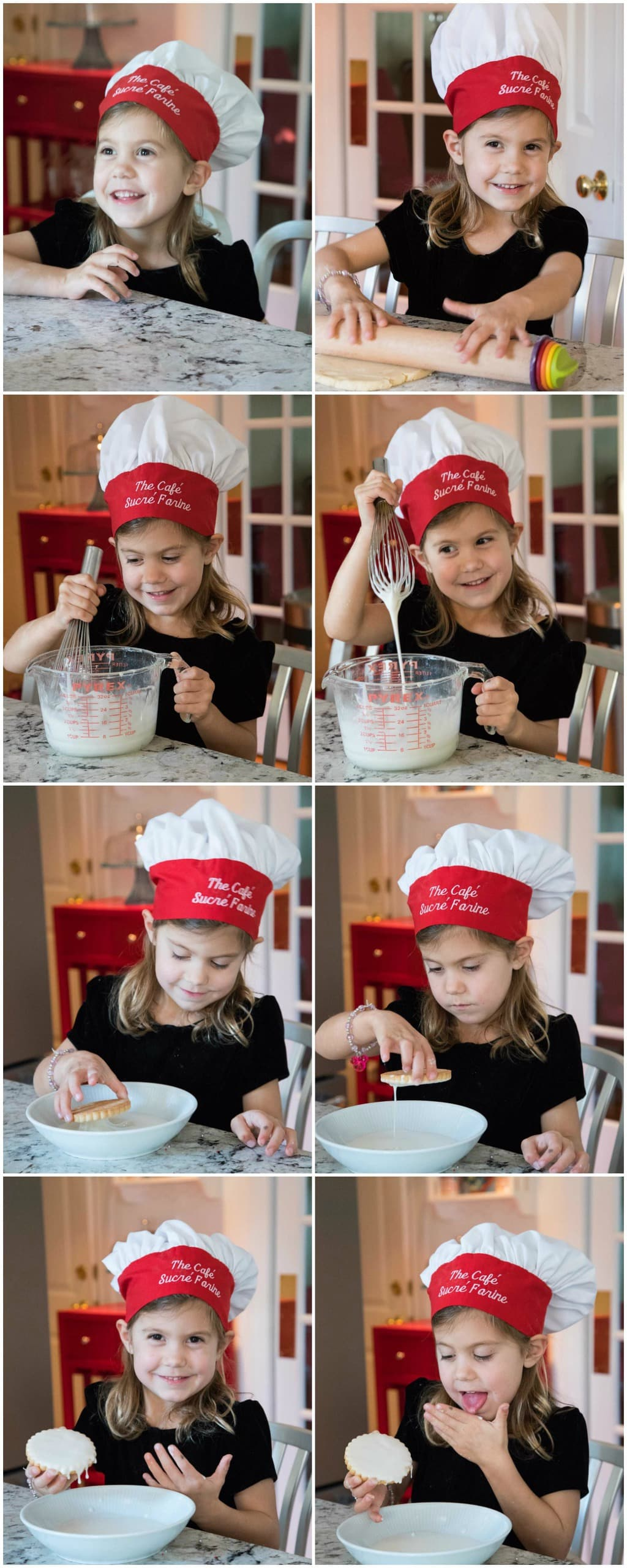 "A four year old ""chef"" (complete with chef's hat) preparing Easy Decorated Shortbread Cookies."