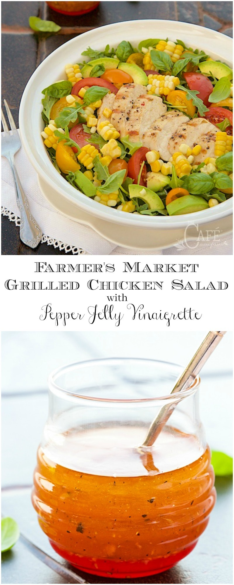 A fabulous fresh summer salad with a sweet and spicy dressing with tender, juicy, grilled chicken on top.