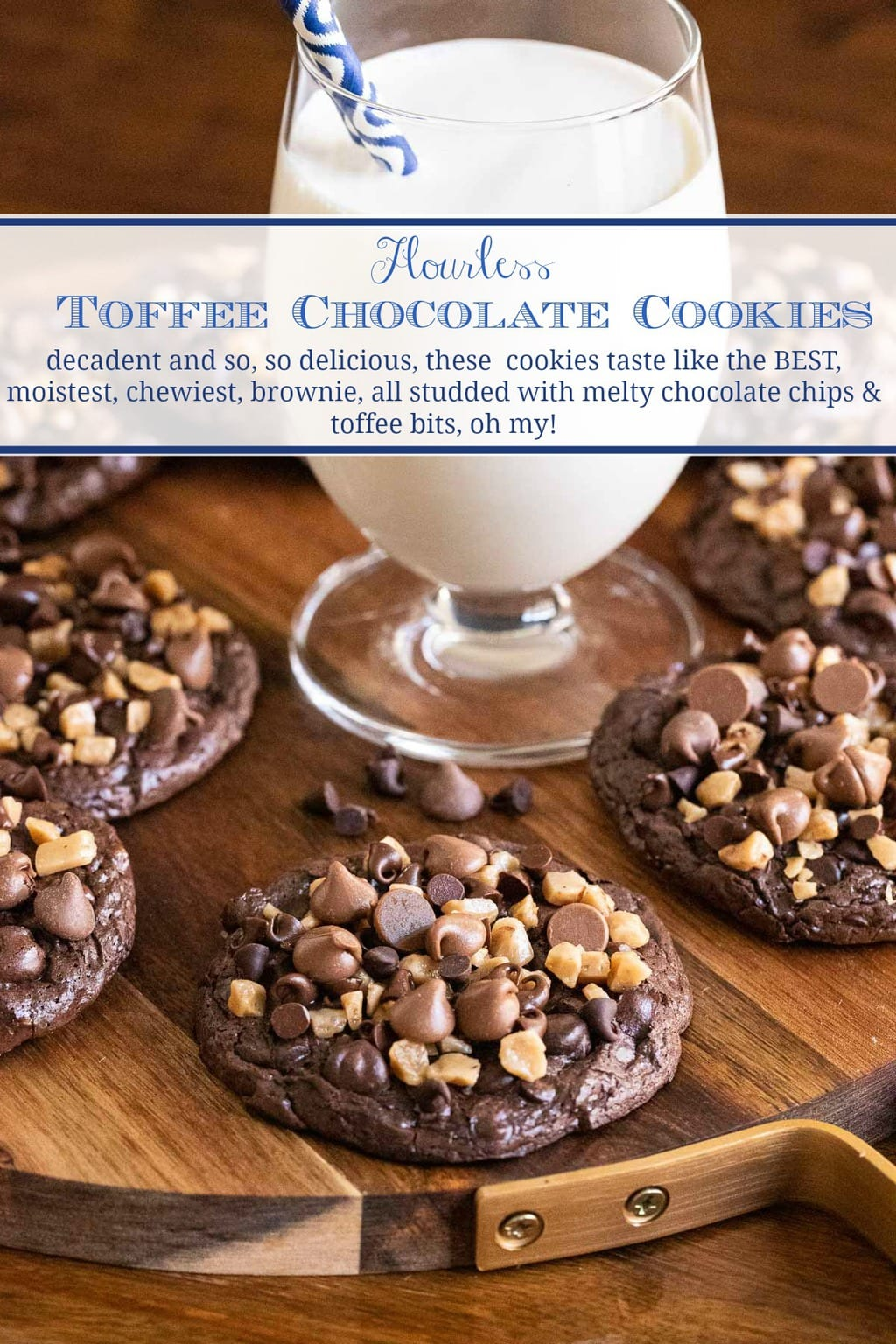 Flourless Toffee Chocolate Cookies