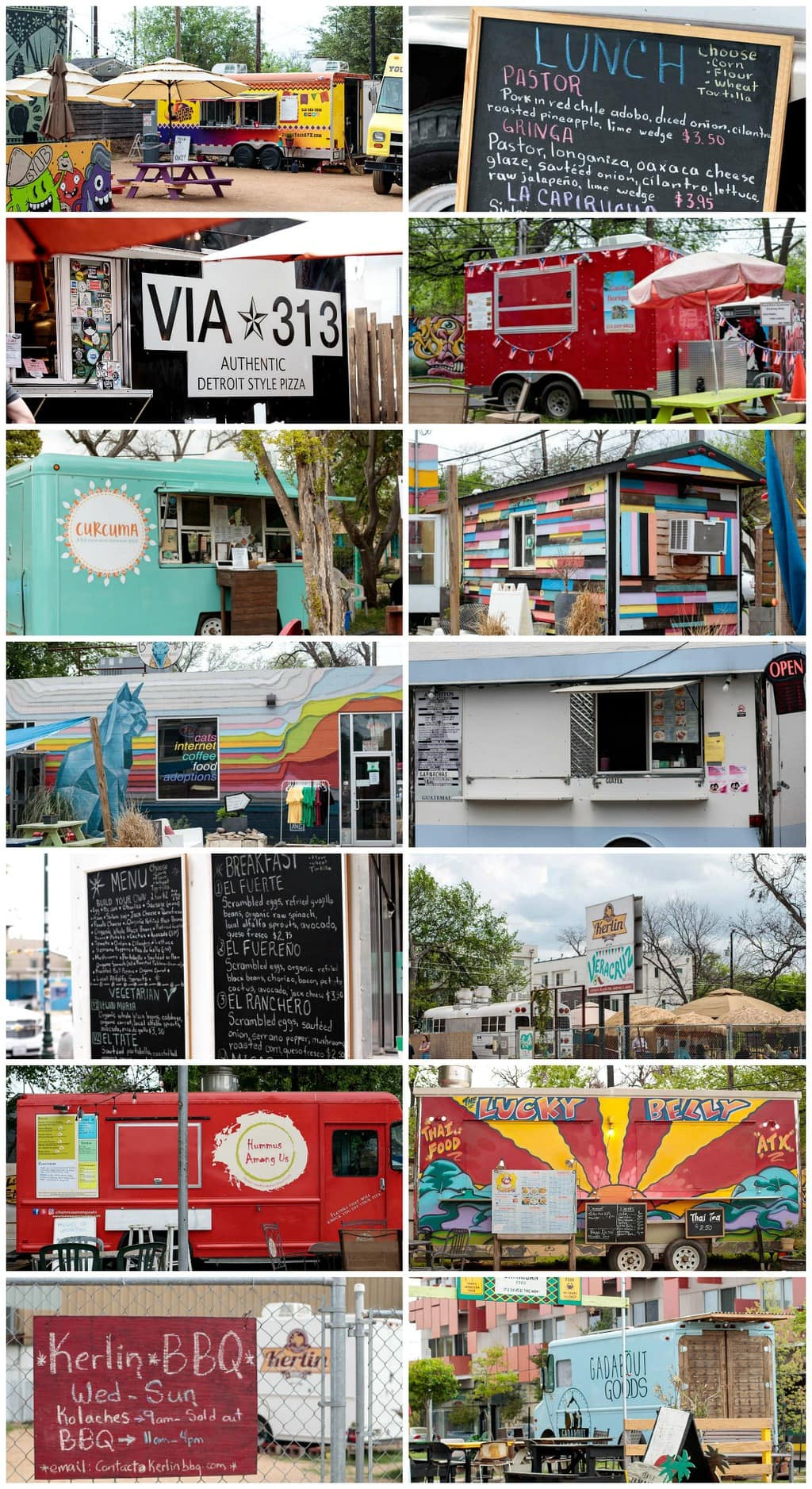 Collage photos of Austin, Texas food trucks from all over the city.